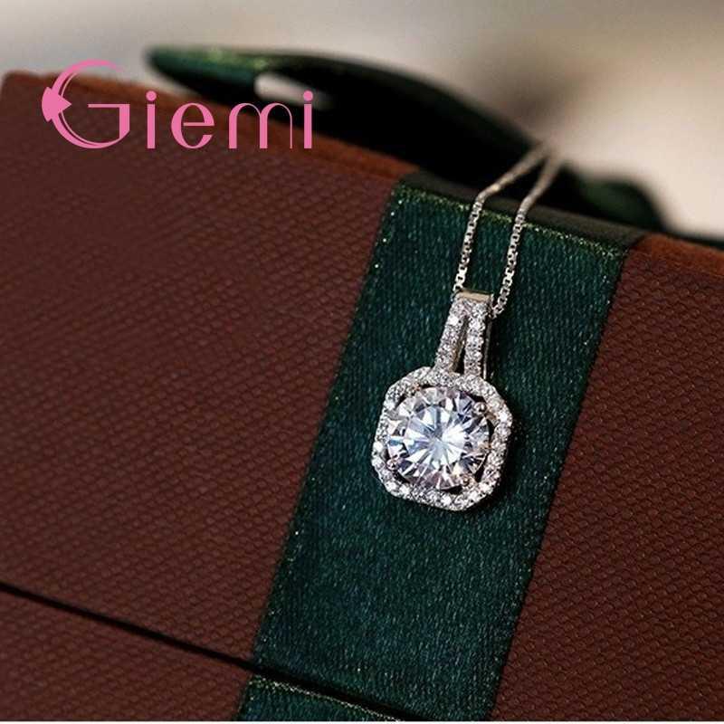 Luxury 5A เกรด Cubic Zircon จี้สร้อยคอ Shining Pure 925 Sterling Silver ออสเตรียคริสตัล Charms ผู้หญิงของขวัญเครื่องประดับ