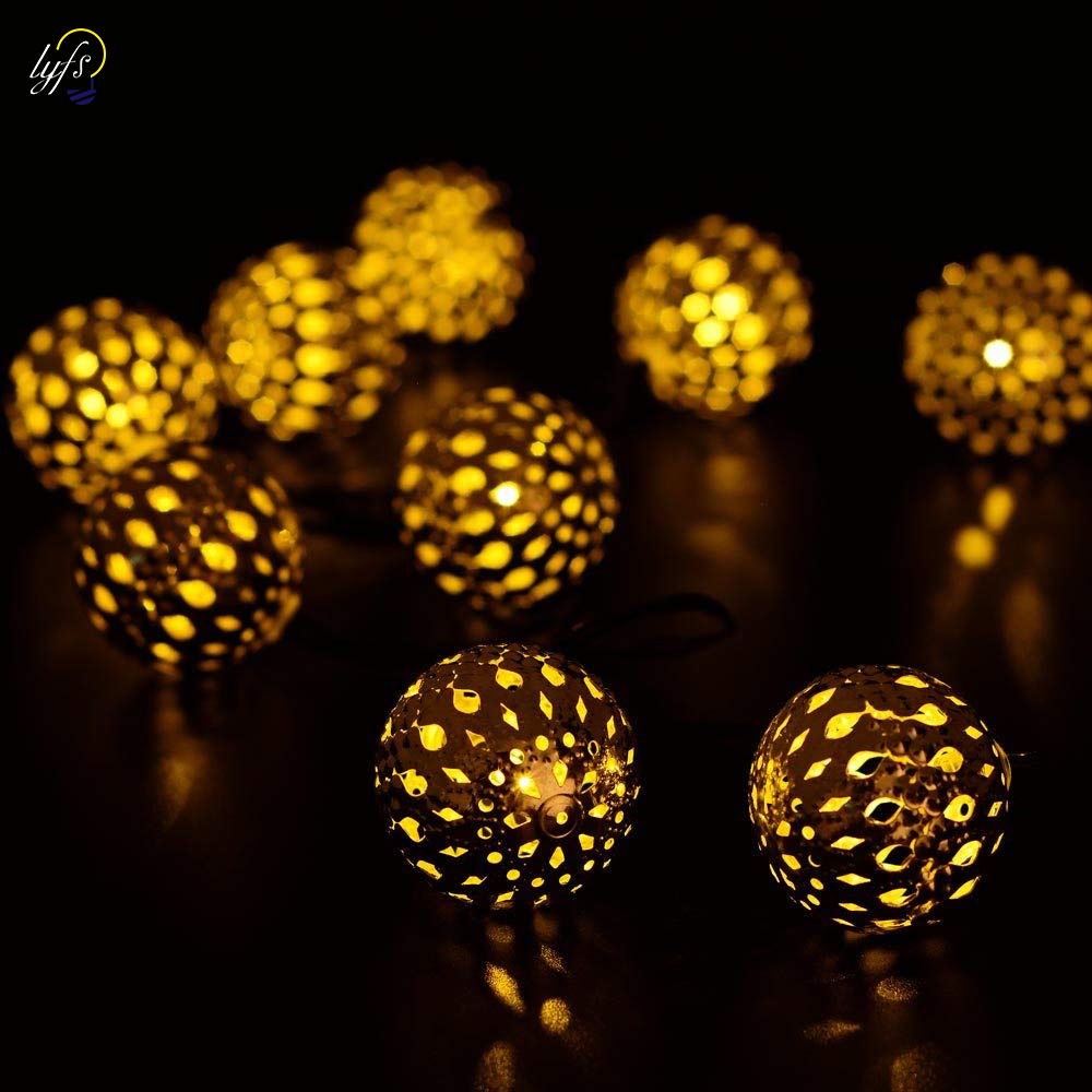 Obrecis Solar Metal Ball String Lights 20 LED Solar Powered Globe Moroccan Balls Decor For Indoor Outdoor Ground, Garden Lawn