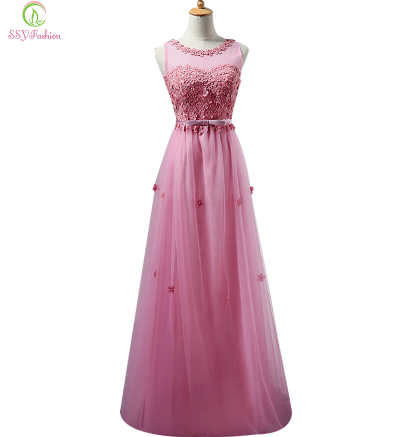 New SSYFashion Sweet Lace Flower Long Bridesmaid Dresses Plus Size Floor length Bridal Banquet Party Formal
