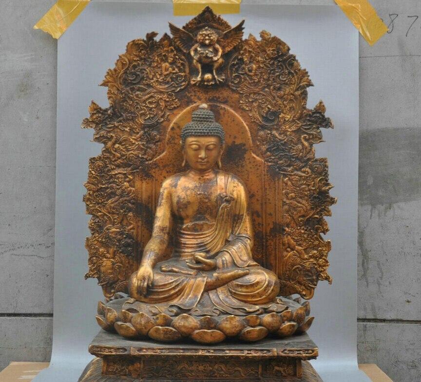 Xd 002369 30' Tibetan Buddhism Bronze Shakyamuni Buddha Sculpture Statue