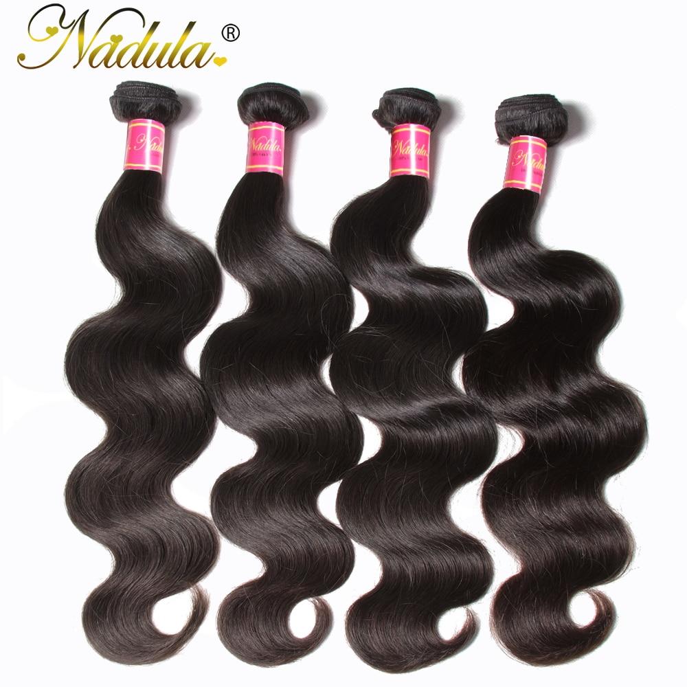 NADULA HAIR 3 / 4pcs / Lot Malayziya Bədən Dalğalı Saç - İnsan saçları (qara üçün) - Fotoqrafiya 3