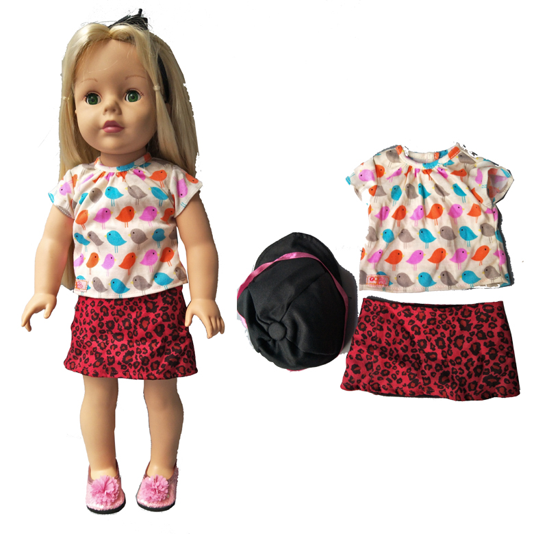 Doll dress shirt cap for 18 inch American Girl doll, outwear set for 45 cm Alexander doll accessory baby girl gift 18 inch lovely american girl princess doll baby toy doll with fashion designed dress journey girl doll alexander doll