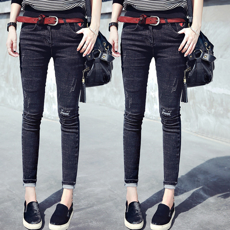 2019 Spring and Autumn New High-waisted Hole jeans women's Modis Nine-point tight-fitting Elastic Black feet Pencil pants image