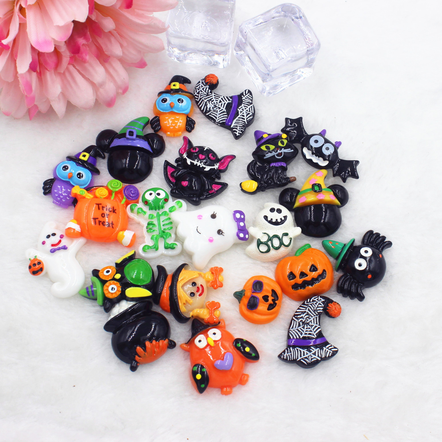5PCS DIY Resin Cabochons Pumpkin Halloween Party Flat Back Scrapbook Craft Decor