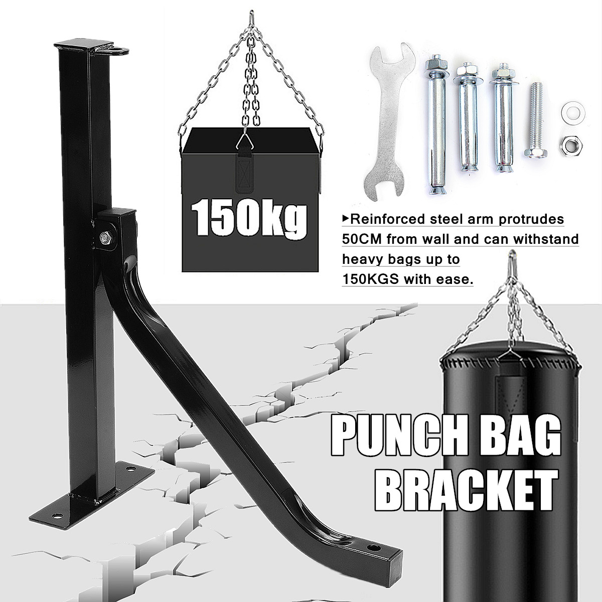 Heavy Duty Steel Boxing Punch Bag Wall Bracket Mount Hanging Stand Holder Hanger Three Bolt Points 50x15x5cm Maximum Load 150kg цена