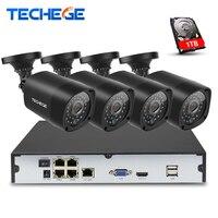Techege 4CH 15V PoE NVR 2 0MP IP Camera POE System Cloud 1080 NVR KIT Surveillance