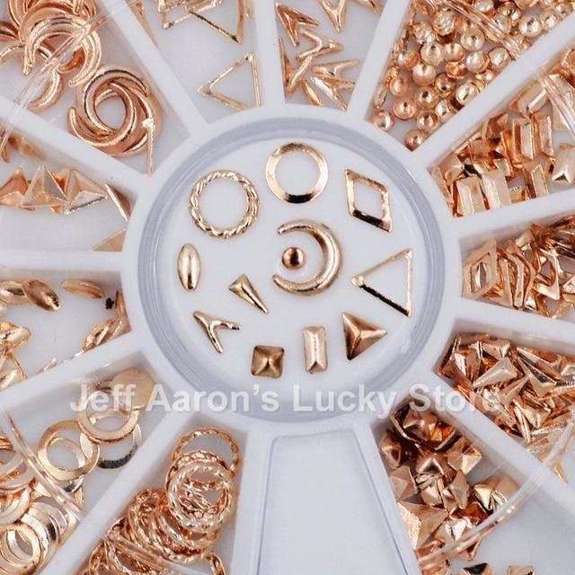 12 shapes rose gold metal 3d nail art decorations studs nails ...