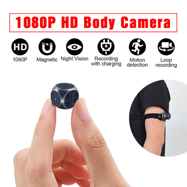 Ultra Mini Kamera Manyetik Vücut Kamera 1080P HD Video Ses Kaydedici Gece Görüş Hareket Gizli Kamera Desteği Gizli TF kart