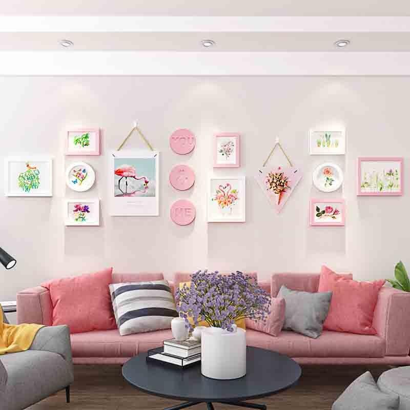 Nordique salon rose et noir Photo décoration murale cadre mur créatif canapé fond mur Photo cadre suspendu mur Combin