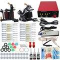 Completa Máquina De Tatuagem Kit Set 2 PCS Bobina Machine Gun 3 Cores Tintas Agulhas Dicas Aperto de Alimentação Para Permanente maquiagem