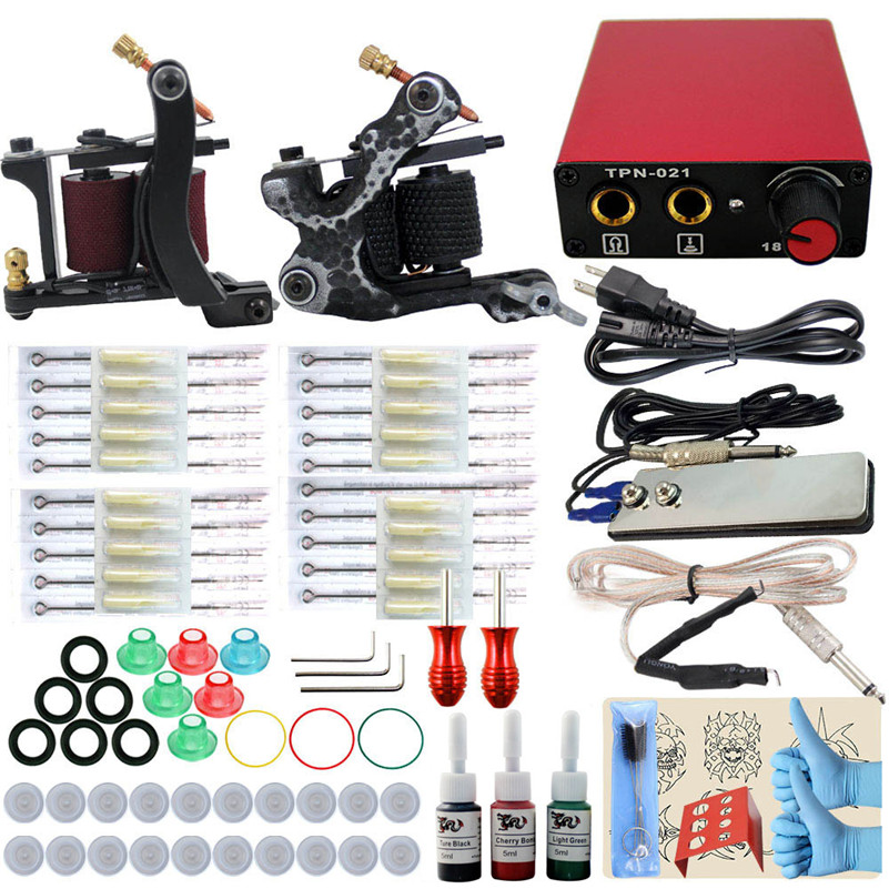 Complete Tattoo Machine Kit Set 2PCS Coil Machine Gun 3 Colors Inks Needles Grip Tips Power Supply For Permanent Makeup remington d1500 travel dryer compact 2000 фен