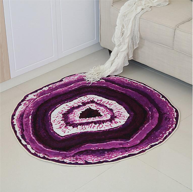 Круглый ковер в скандинавском стиле с деревянным зерном, индивидуальный креативный журнальный столик для спальни, компьютерное кресло, нескользящий коврик, домашний декор - Цвет: Purple
