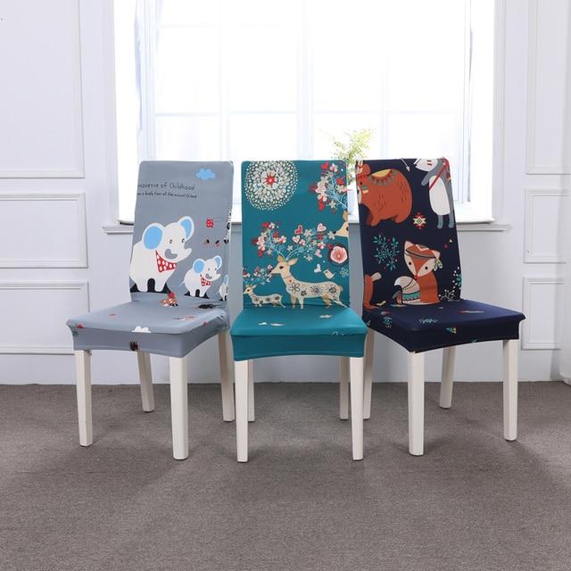 Эластичные Чехлы для обеденных стульев из спандекса, современный съемный чехол для кухонного стула с грязной печатью, растягивающийся чехол на стулья