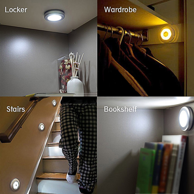 LumiParty Infrared PIR Motion Sensor 6 Led Night Light Wireless Detector Light Wall Lamp Light Auto On/Off Closet Battery Power