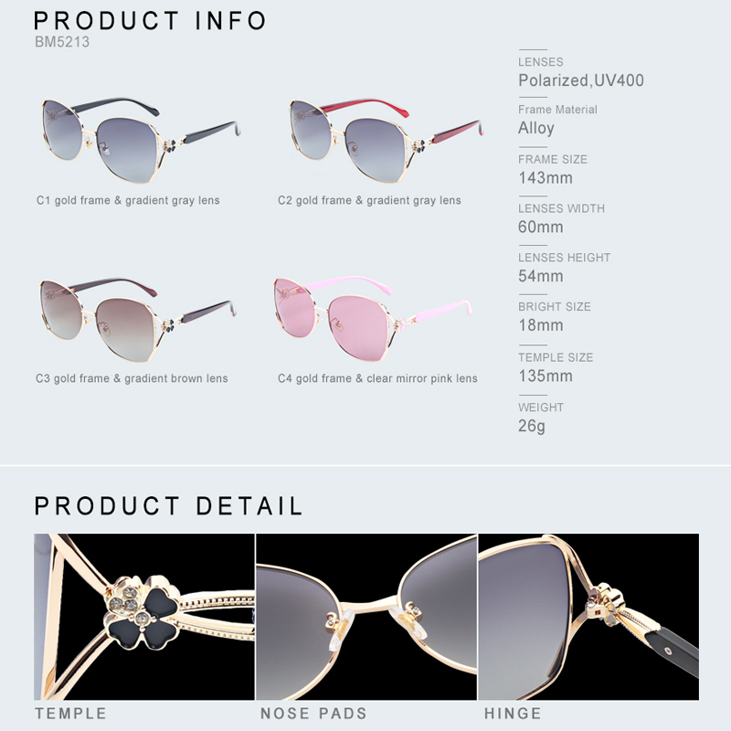 Image 5 - Blanche Michelle Polarized Sunglasses Women Brand Design UV400 Sun Glasses women's sunglasses oculos feminino Fashion Four leaf-in Women's Sunglasses from Apparel Accessories on AliExpress