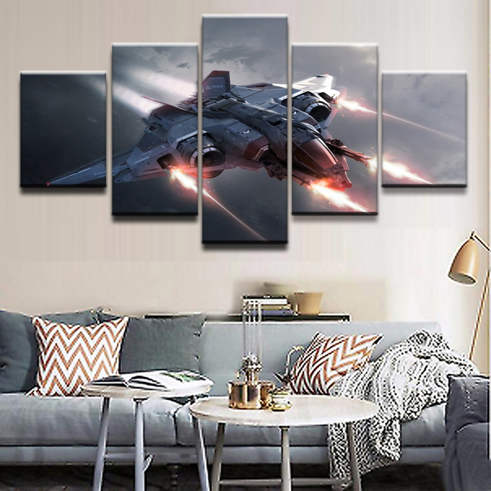 Modern Decor Canvas Painting HD Printed Frame Living Room Wall Art 5 Pieces Game Star Citizen Spaceship Poster Modular Pictures