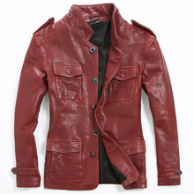 2017 Men Red Long Casual Genuine Leather Jacket Stand Collar Real Sheepskin Single Breasted Slim Fit Winter Coat FREE SHIPPING