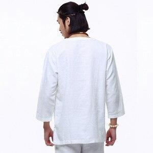 Image 2 - 中国風のリネンシャツプラスサイズ 4XL/5XL 男性カジュアル通気性白ソフト構図シャツカミーサ masculina TX55
