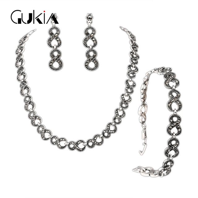 Gukin Vintage Wedding Jewelry Sets For Ladies Silver Gray Crystal