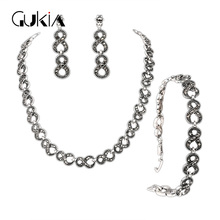 Gukin Vintage Wedding Jewelry Sets For Ladies Silver Gray Crystal Bracelets Necklaces Bridal Earrings Women Turkish Jewelry Sets