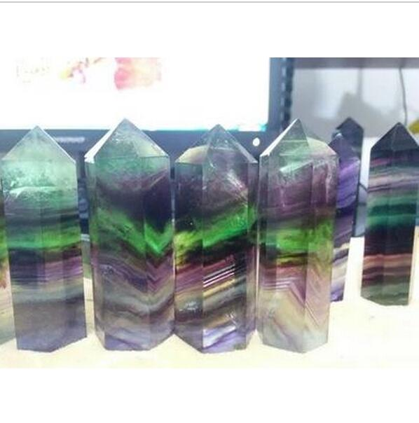 Natural 60*18mm purple green fluorite QUARTZ CRYSTAL WAND POINT HEALING