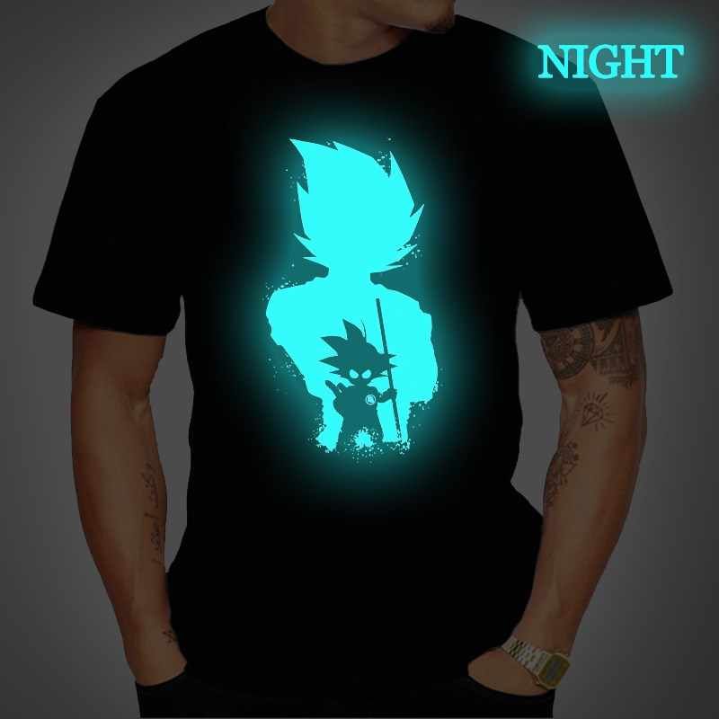 Dragon Ball Mens T Shirt Super Saiyan Vegeta Goku Lichtgevende T-shirts Korte Mouw Tee Tops Femme Streetwear T-shirt plus Size