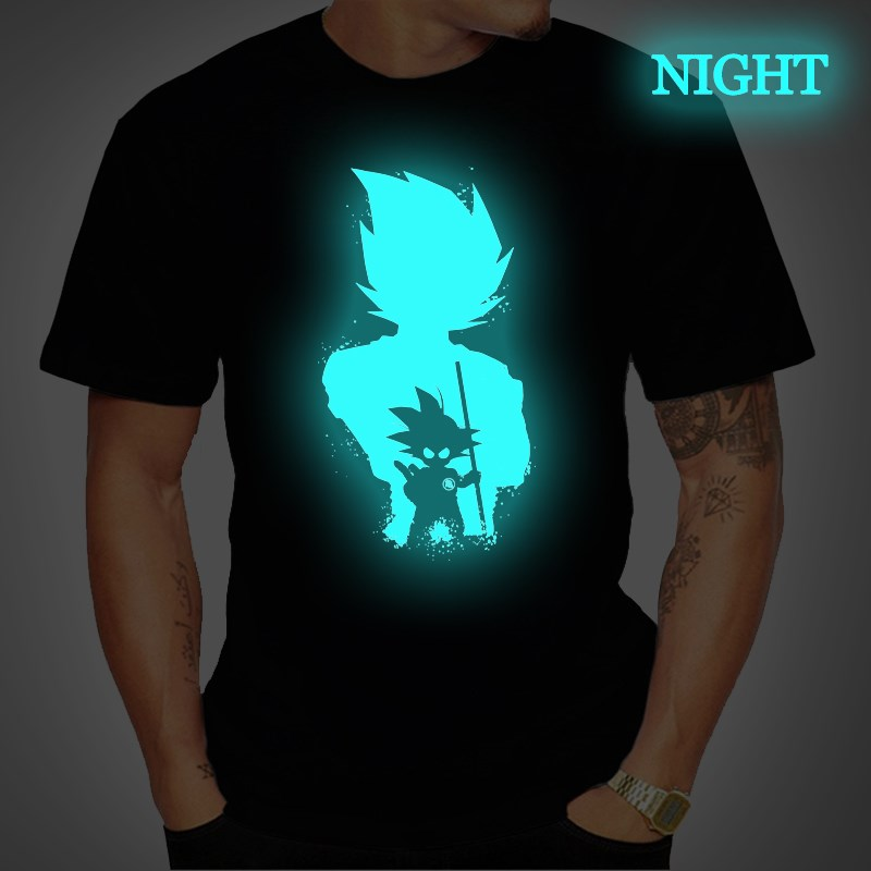 Dragon Ball Mens T Shirt Super Saiyan Vegeta Goku Luminous T Shirts Short Sleeve Tee Tops Femme Streetwear T Shirt Plus Size