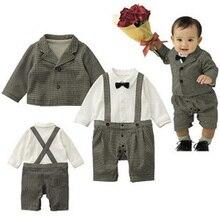 Осень Мальчик Комплект Одежды Плед 3 год мода ремень Ползунки + пальто 2 шт. мальчик комплект одежды младенца осень комплект одежды младенца для мальчик