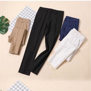 Image 5 - Trousers Women 2019 New  Ankle length Capris Female Leggings Pantalon Femme Workwear Slim High Waist Elastic Casual Woman Pants