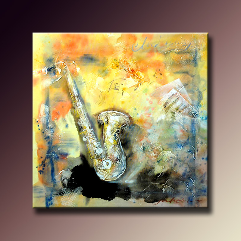 Simple Abstract Picture Saxophone Wall Art Painting Handmade Canvas Painting Musical Abstract Oil Painting For Home Decoration