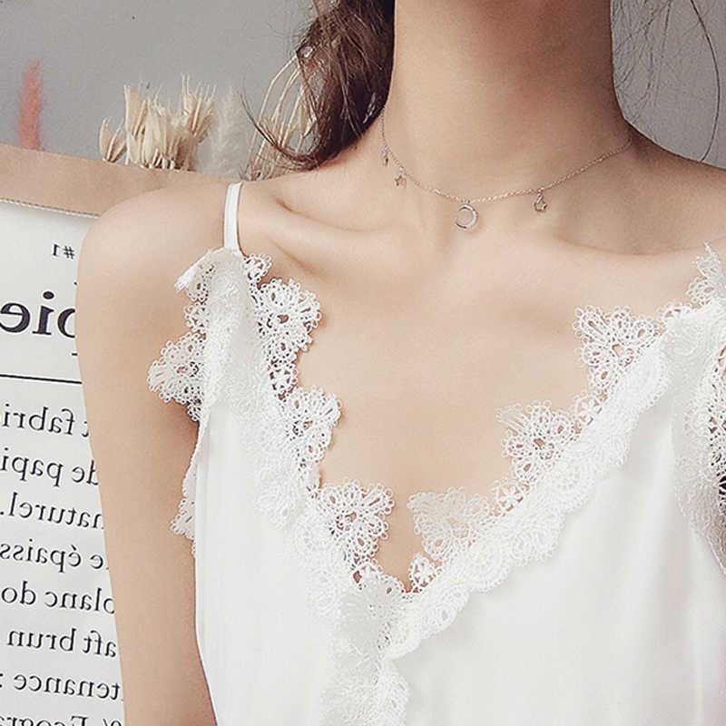 Collar de plata Micro circón Luna estrella colgante corto clavícula Collar para mujeres gargantilla Collar S925 joyería de moda