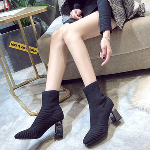 Image 4 - 2019 New Knitted Women Sock Boots Female Ankle Boots High Heels Sock Shoes Women Sneakers Elastic Shoes