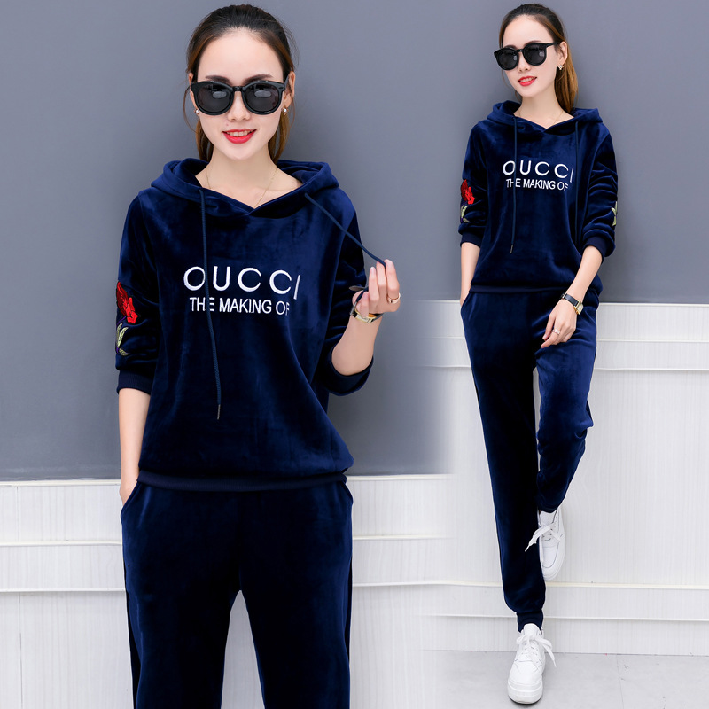 2019 new spring women sportswear tracksuit velvet hoodies sweatshirts pants running jogger casual workout outfit set sport suit in Running Sets from Sports Entertainment