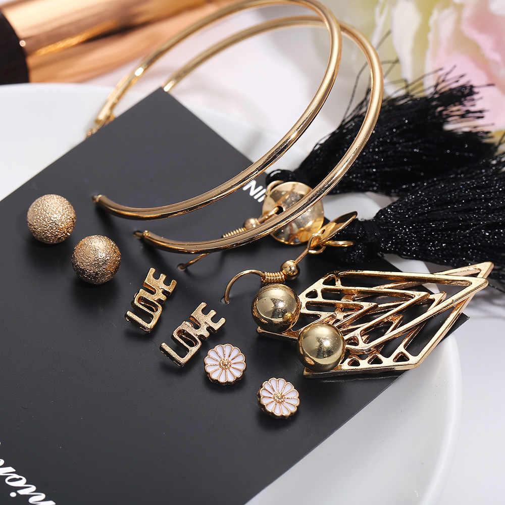 2019 Fashion Jewelry Girl earing Long Tassel Earrings Set Flower Heart Bohemia Stud Earring For Women
