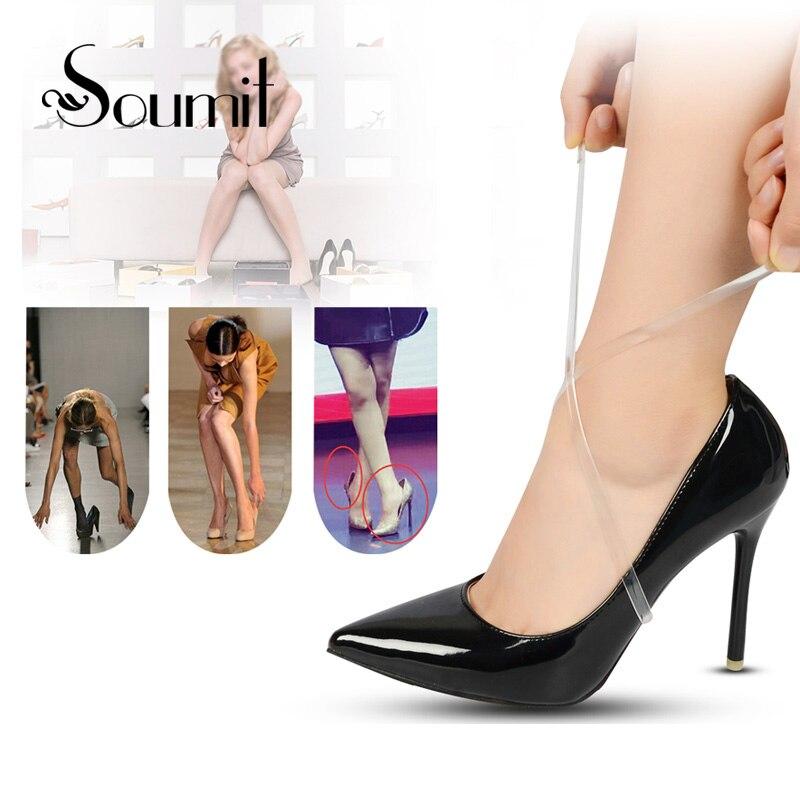 5 paari kõrgekvaliteedilist 58CM nähtamatut elastset läbipaistvat ninajalatsit lindid kingaelaga nööpnõelaga kõrgetele kingadele