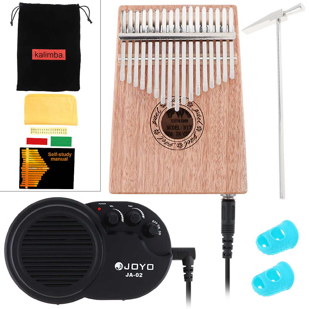 17 Key Electroacoustic Kalimba Solid Mahogany Thumb Piano with Amplifier Mbira Natural Mini Keyboard Instrument