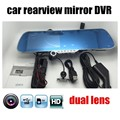 "1080P Car Camera Recorder 5"" inch Rearview Mirror DVR Dual Lens Front Rear Detection Night Vision free shipping"