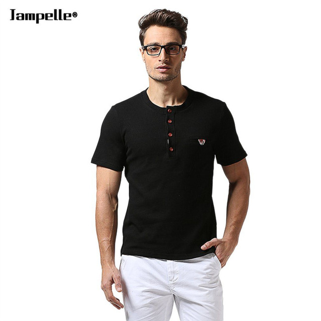 Jampelle B34 Summer Trendy Style Men Collar Single Breasted Short Sleeve Cotton Casual Tee T-shirt Male Breathable Tops