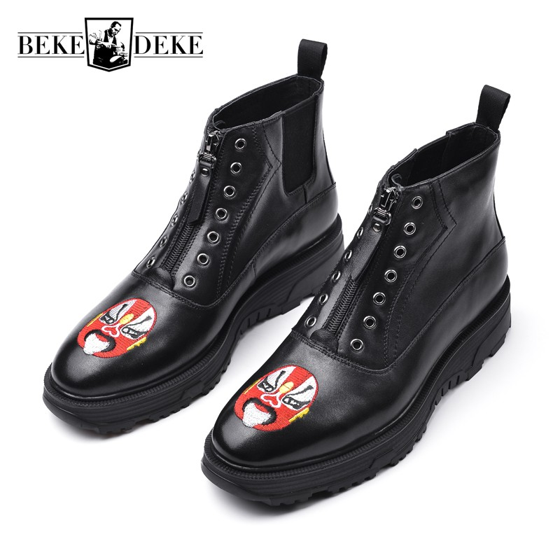 0cba08e97c38 New Gothic Embroidery Mens Winter Zip Ankle Boots Designer Work Genuine  Leather High Top Platform Shoes Male Punk Martin Boots