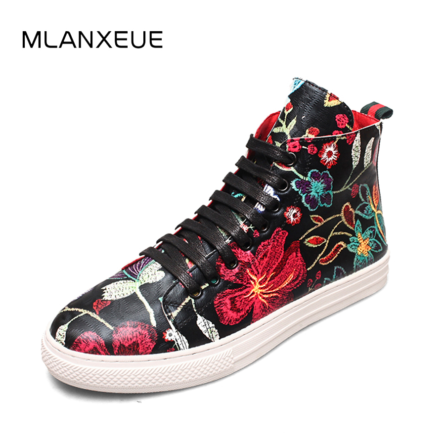 MLANXEUE Hot Sale Flower Men Boots Non-slip Plus Size Men Shoes Rubber Sole Comfortable Men Shoes 2018 Fashion Black Men Shoes business men tie shallow mouth brown leather casual rivet shoes men s shoes round youth non slip rubber sole