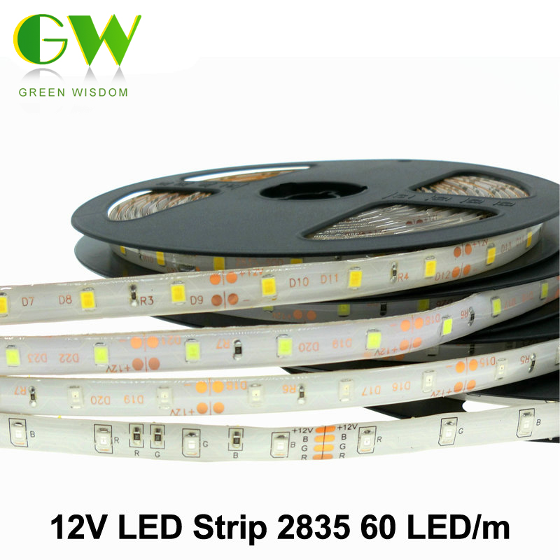led strip 2835 3528 12v 60 led m flexible led light rgb white warm white blue green. Black Bedroom Furniture Sets. Home Design Ideas