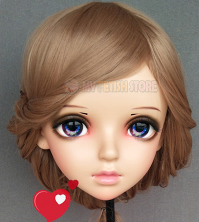 miao-4 Boys Costume Accessories female Sweet Girl Resin Half Head Kigurumi Bjd Mask Cosplay Japanese Anime Role Lolita Mask Crossdress Doll Mask Can Be Repeatedly Remolded. Kids Costumes & Accessories