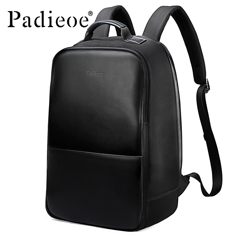 все цены на padieoe Genuine Leather New Fashion Men Luxury Male Bag High Quality Waterproof Laptop Messenger Travel Backpack 15.6 School Bag