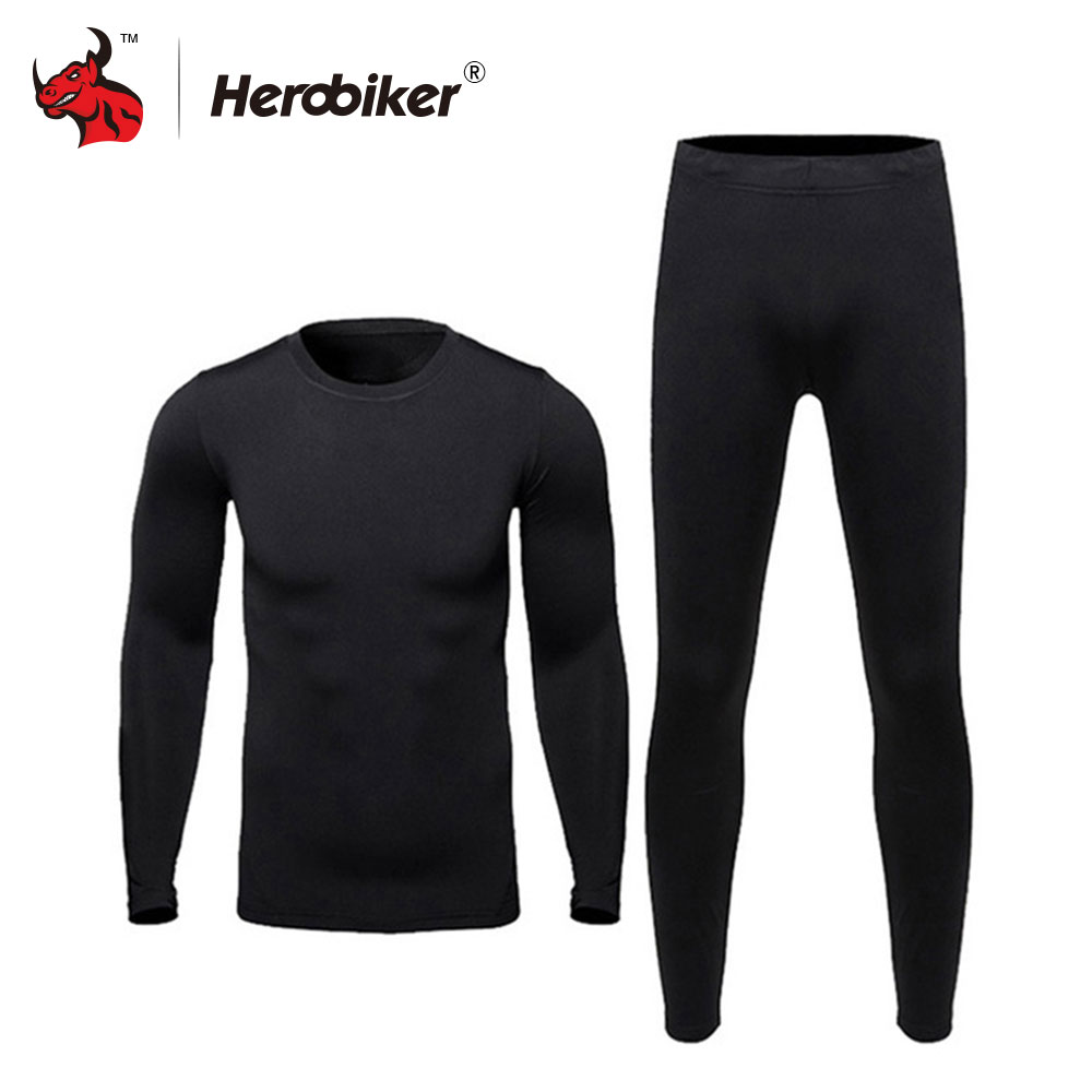 HEROBIKER Men Cotton Thermal Underwear Set Motorcycle Skiing Winter Warm Base Layers Tight Long Johns Tops Pants Set