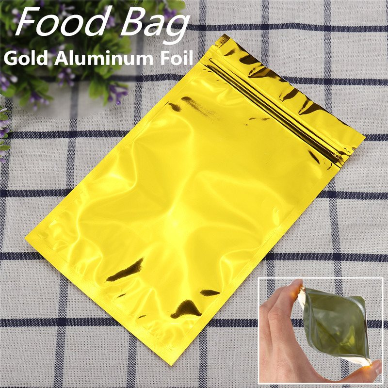 100pcs Aluminum Foil Zip Lock Bags Golden Metallic Stand Up Bags Mylar Pouches With Window Food Grade For Food Tea Candy Cookie