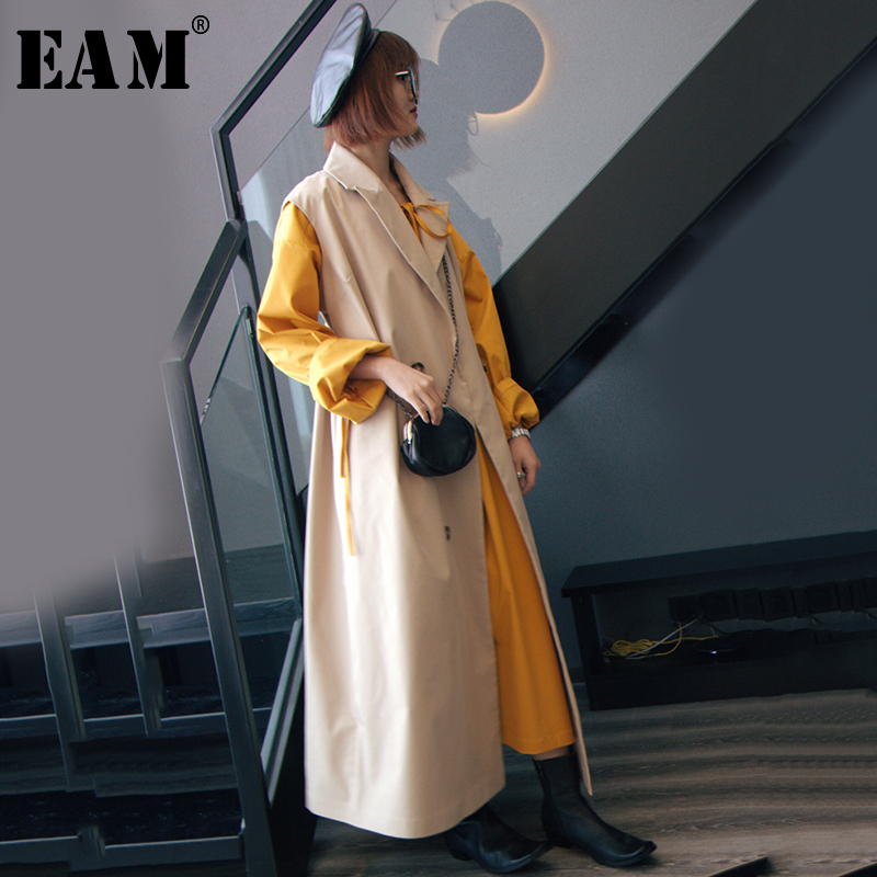 [EAM] Women Loose Fit Print Vintage Oversize Denim Vest New Lapel Sleeveless Fashion Tide All-match Spring Autumn 2019 1A204
