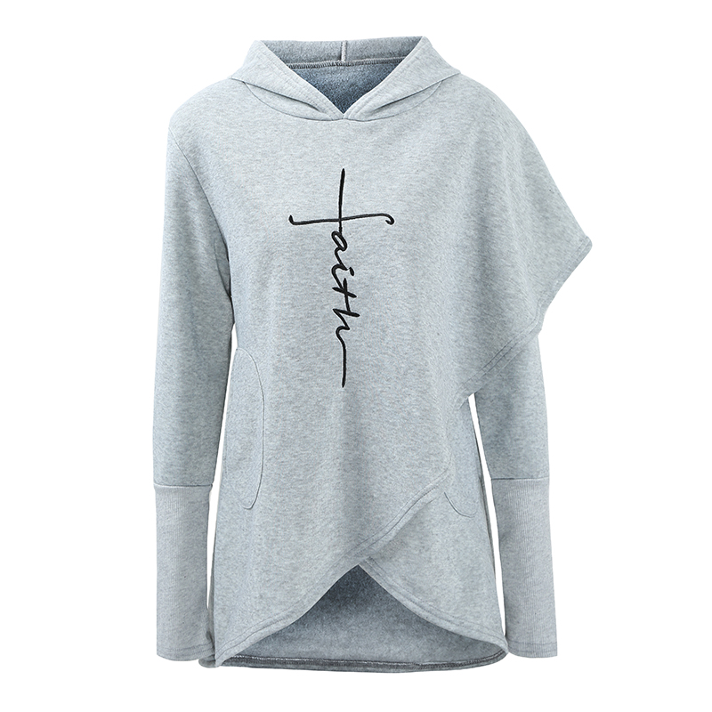 Fashion Women Hoodie Faith Letter Print Asymmetric Hem Fleece Lining long sleeves Casual Loose Pullover Sweatshirts