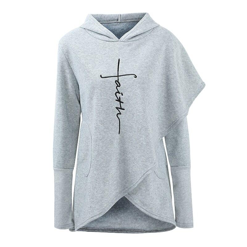 Moda mujer Sudadera con capucha Faith letra impresión asimétrica Hem polar forro de manga larga Casual suéter suelto sudaderas con capucha Tops
