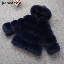 Womens Real Fox Fur Hooded Coat Thick Warm Natural Outerwear Jacket Winter High Quality S7488
