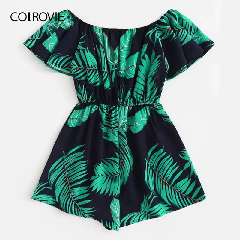 COLROVIE Plus Size Off The Shoulder Tree Print Ruffle Boho   Jumpsuit   Rompers Women 2019 Summer Short Sleeve Vacation Playsuits